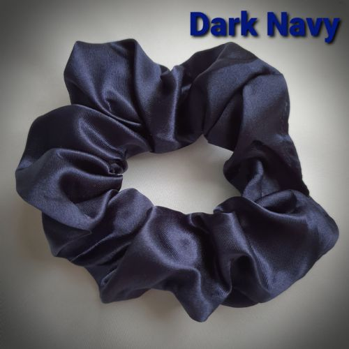 Dark Navy Satin Scrunchie